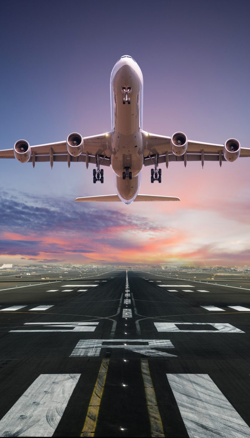 Airplane,Taking,Off,From,The,Airport,,Front,View.